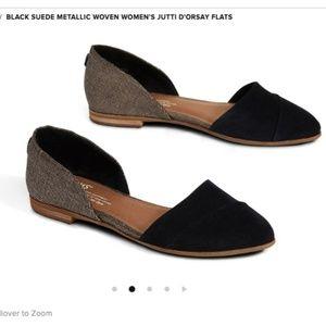 TOMS Black Suede Metallic Woven Jutti DOrsay Flats